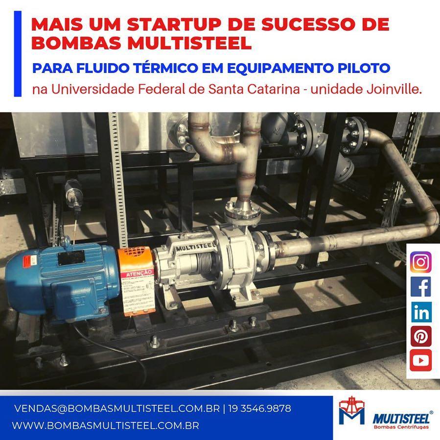 Startup de sucesso de bombas Multisteel para fluido térmico